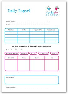 Boys & Girls Nursery Daily Report card